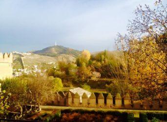 紅葉と城壁