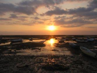 干潮時の夕陽